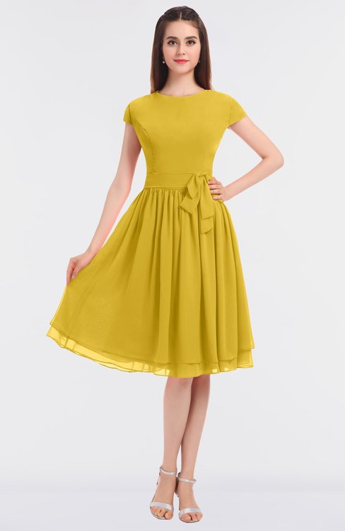 ColsBM Bella Lemon Curry Modest A-line Short Sleeve Zip up Flower Bridesmaid Dresses