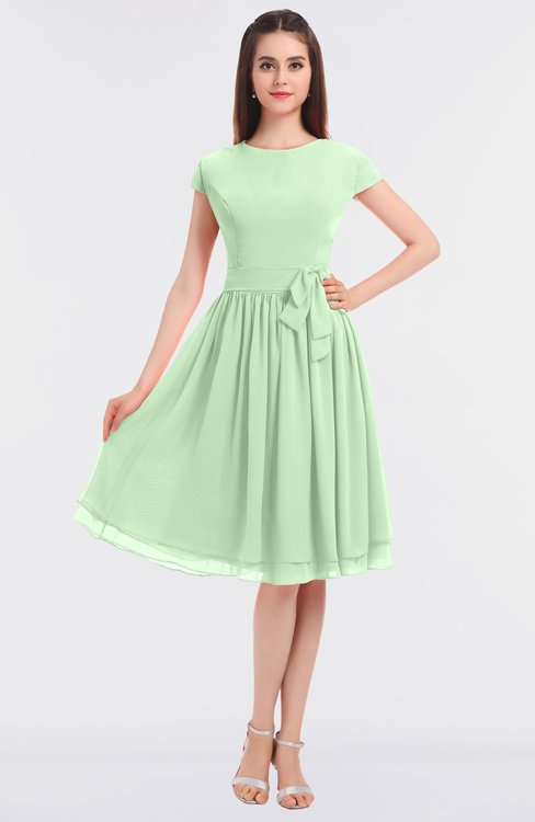 ColsBM Bella Light Green Modest A-line Short Sleeve Zip up Flower Bridesmaid Dresses
