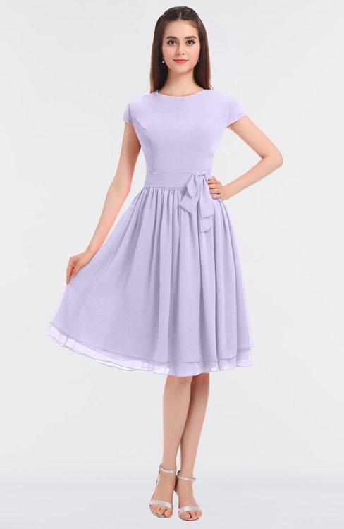 ColsBM Bella Light Purple Modest A-line Short Sleeve Zip up Flower Bridesmaid Dresses