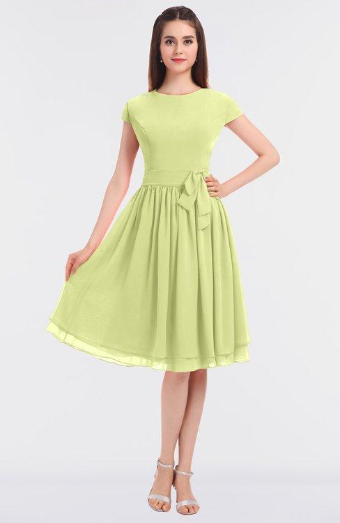 ColsBM Bella Lime Green Modest A-line Short Sleeve Zip up Flower Bridesmaid Dresses
