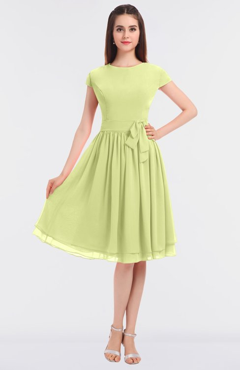 ColsBM Bella Lime Sherbet Modest A-line Short Sleeve Zip up Flower Bridesmaid Dresses