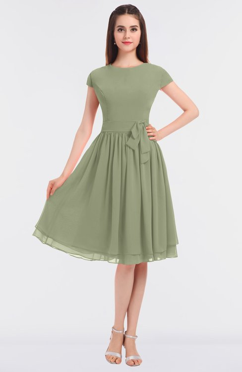 ColsBM Bella Moss Green Modest A-line Short Sleeve Zip up Flower Bridesmaid Dresses