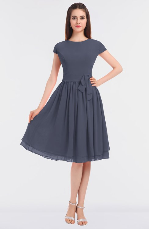 ColsBM Bella Nightshadow Blue Modest A-line Short Sleeve Zip up Flower Bridesmaid Dresses