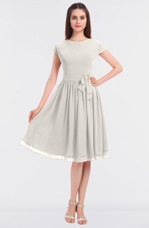 ColsBM Bella Off White Modest A-line Short Sleeve Zip up Flower Bridesmaid Dresses
