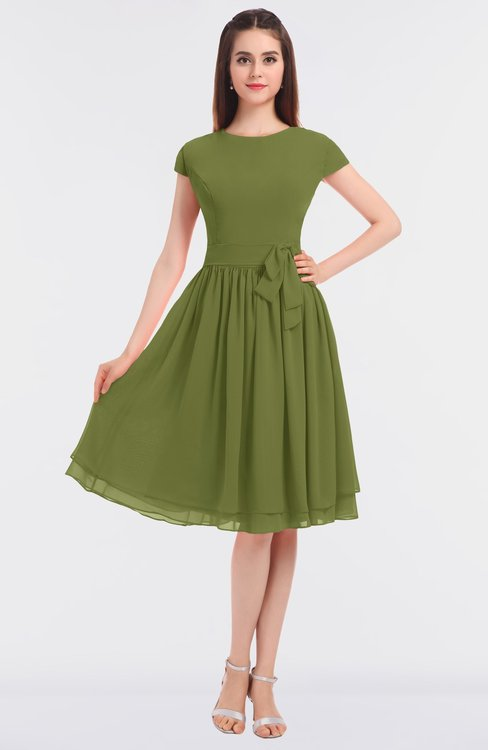 ColsBM Bella Olive Green Modest A-line Short Sleeve Zip up Flower Bridesmaid Dresses