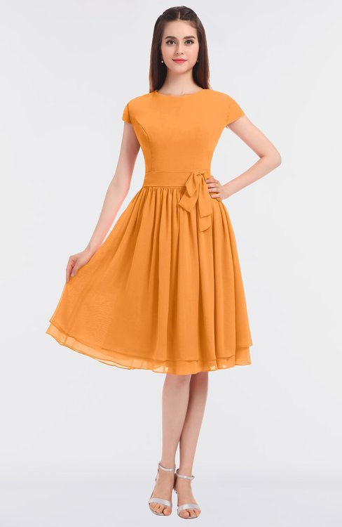 ColsBM Bella Orange Modest A-line Short Sleeve Zip up Flower Bridesmaid Dresses