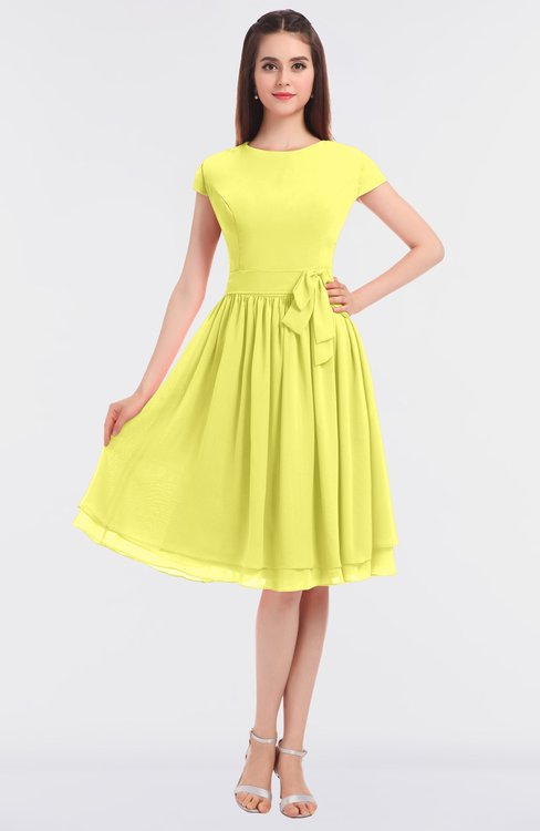 ColsBM Bella Pale Yellow Modest A-line Short Sleeve Zip up Flower Bridesmaid Dresses