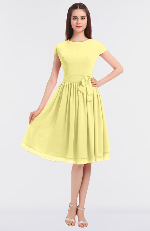 ColsBM Bella Pastel Yellow Modest A-line Short Sleeve Zip up Flower Bridesmaid Dresses