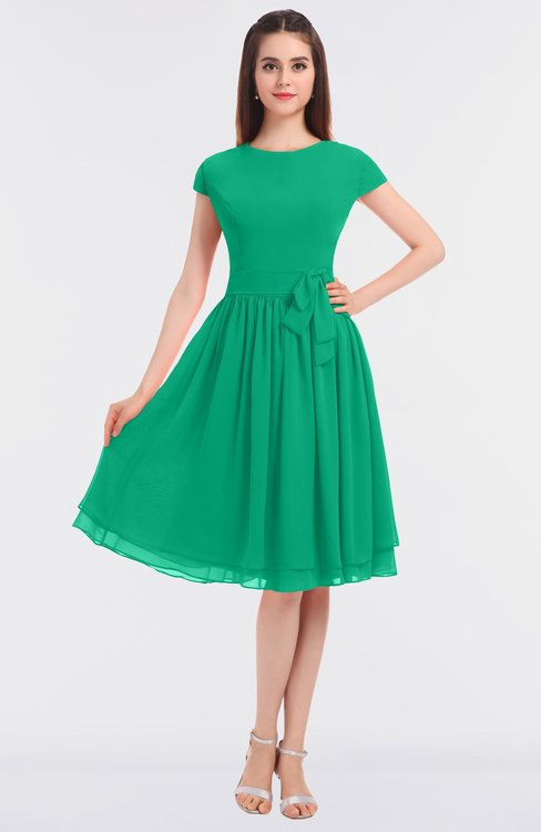 ColsBM Bella Pepper Green Modest A-line Short Sleeve Zip up Flower Bridesmaid Dresses