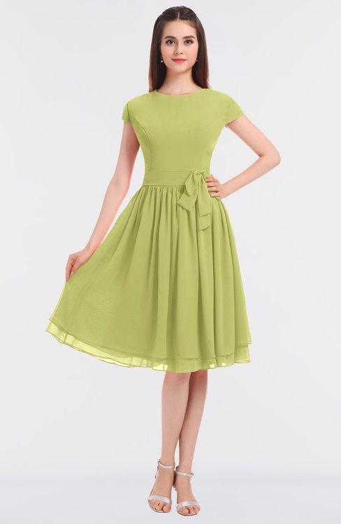 ColsBM Bella Pistachio Modest A-line Short Sleeve Zip up Flower Bridesmaid Dresses
