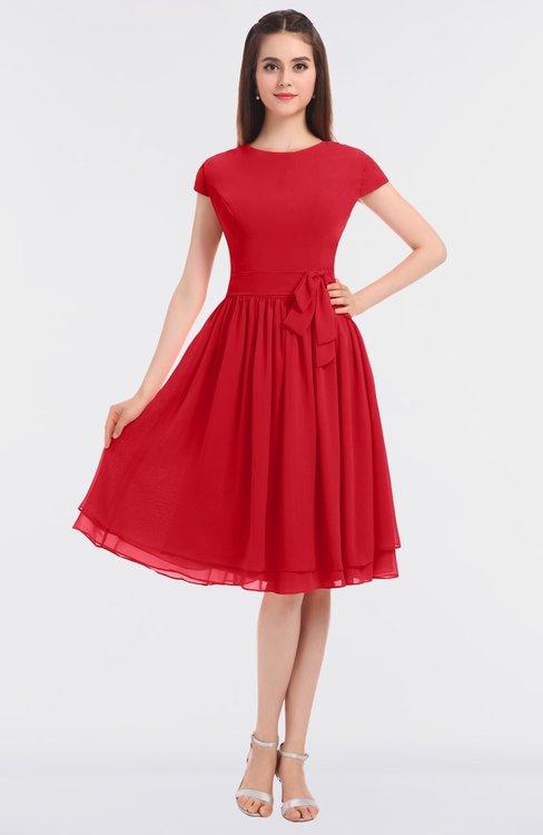 ColsBM Bella Red Modest A-line Short Sleeve Zip up Flower Bridesmaid Dresses