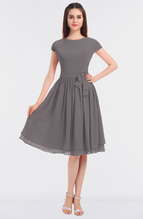 ColsBM Bella Ridge Grey Modest A-line Short Sleeve Zip up Flower Bridesmaid Dresses