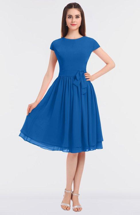 ColsBM Bella Royal Blue Modest A-line Short Sleeve Zip up Flower Bridesmaid Dresses