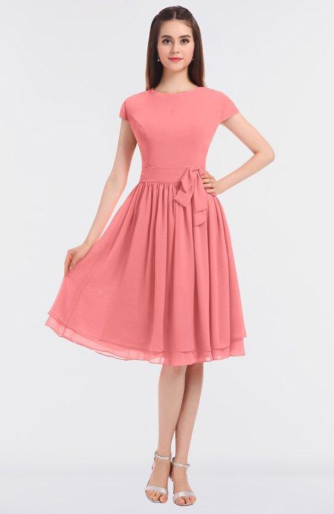 ColsBM Bella Shell Pink Modest A-line Short Sleeve Zip up Flower Bridesmaid Dresses