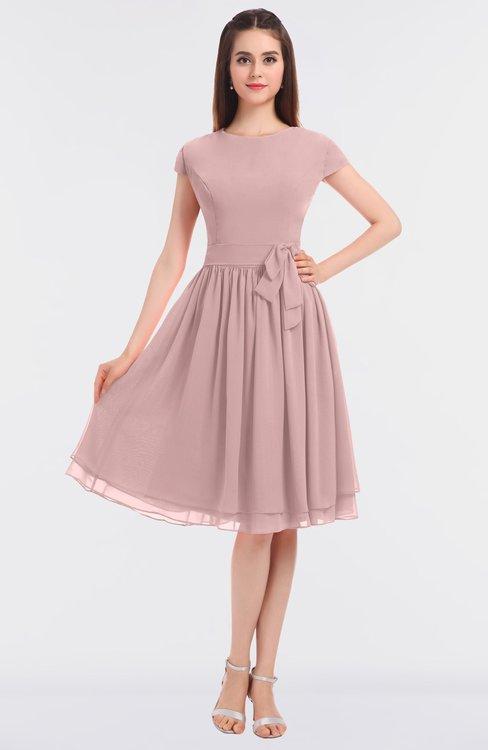 ColsBM Bella Silver Pink Modest A-line Short Sleeve Zip up Flower Bridesmaid Dresses