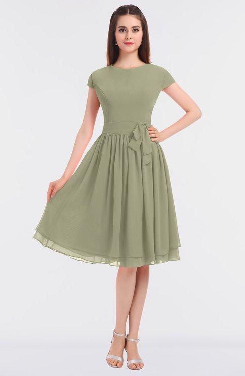 ColsBM Bella Sponge Modest A-line Short Sleeve Zip up Flower Bridesmaid Dresses