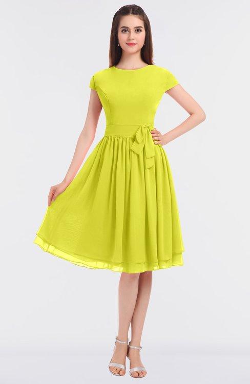 ColsBM Bella Sulphur Spring Modest A-line Short Sleeve Zip up Flower Bridesmaid Dresses