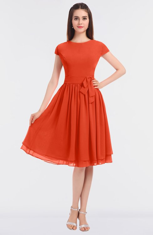 ColsBM Bella Tangerine Tango Modest A-line Short Sleeve Zip up Flower Bridesmaid Dresses