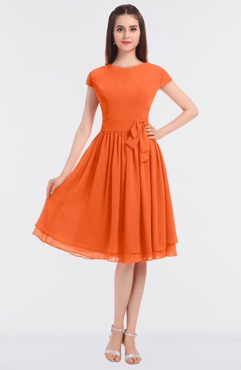 ColsBM Bella Tangerine Modest A-line Short Sleeve Zip up Flower Bridesmaid Dresses
