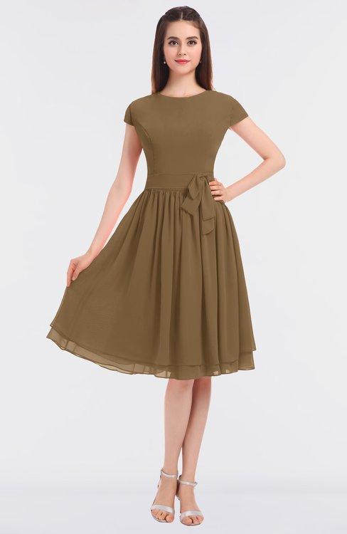 ColsBM Bella Truffle Modest A-line Short Sleeve Zip up Flower Bridesmaid Dresses