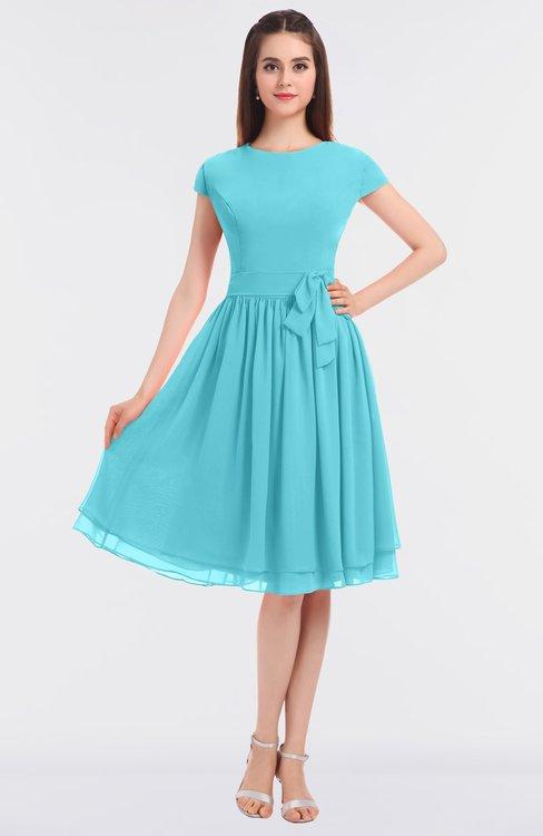 ColsBM Bella Turquoise Modest A-line Short Sleeve Zip up Flower Bridesmaid Dresses