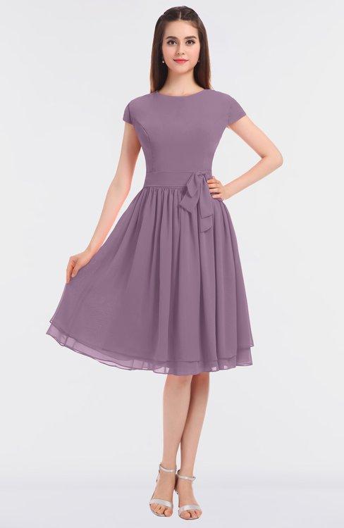ColsBM Bella Valerian Modest A-line Short Sleeve Zip up Flower Bridesmaid Dresses