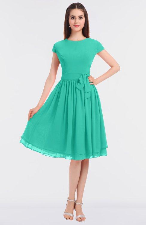 ColsBM Bella Viridian Green Modest A-line Short Sleeve Zip up Flower Bridesmaid Dresses