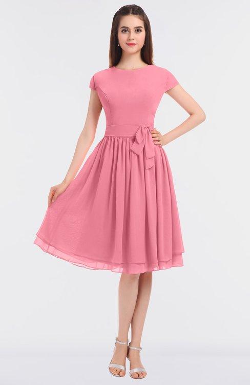 ColsBM Bella Watermelon Modest A-line Short Sleeve Zip up Flower Bridesmaid Dresses