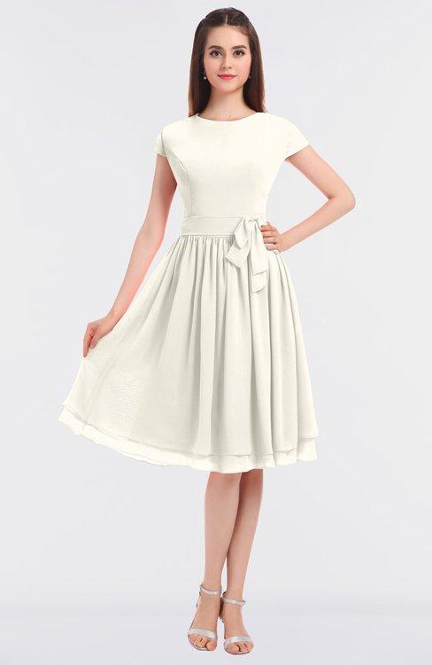ColsBM Bella Whisper White Modest A-line Short Sleeve Zip up Flower Bridesmaid Dresses