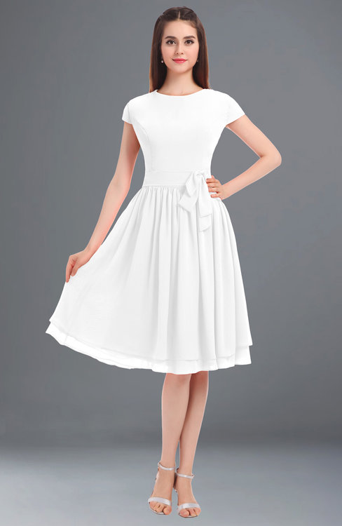 ColsBM Bella White Modest A-line Short Sleeve Zip up Flower Bridesmaid Dresses