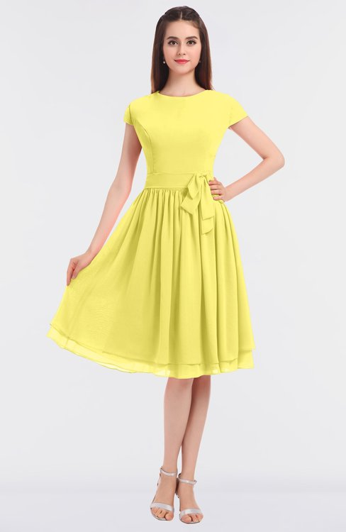 ColsBM Bella Yellow Iris Modest A-line Short Sleeve Zip up Flower Bridesmaid Dresses