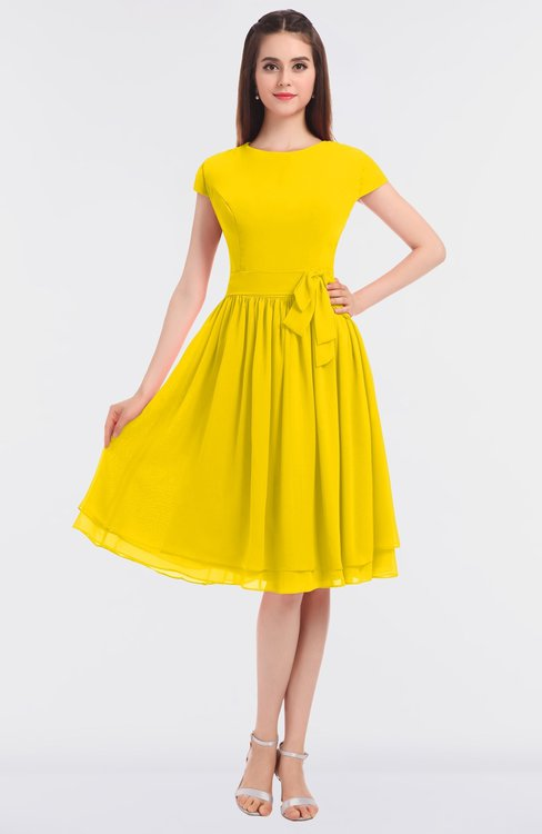 ColsBM Bella Yellow Modest A-line Short Sleeve Zip up Flower Bridesmaid Dresses