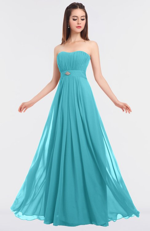ColsBM Claire Turquoise Elegant A-line Strapless Sleeveless Appliques Bridesmaid Dresses
