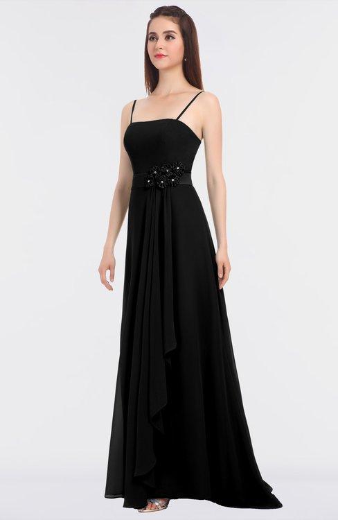 ColsBM Caitlin Black Modern A-line Spaghetti Sleeveless Appliques Bridesmaid Dresses