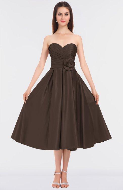 ColsBM Kallie Chestnut Brown Gorgeous A-line Strapless Sleeveless Flower Bridesmaid Dresses