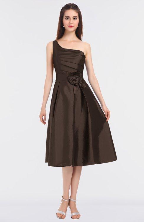ColsBM Ellison Chestnut Brown Mature A-line Asymmetric Neckline Sleeveless Zip up Bridesmaid Dresses