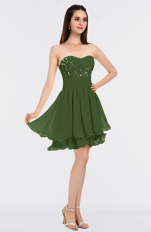 ColsBM Makenna Garden Green Glamorous A-line Strapless Sleeveless Mini Beaded Bridesmaid Dresses