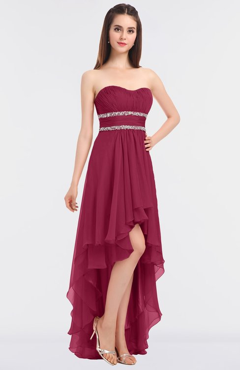 ColsBM Cynthia Burgundy Elegant A-line Strapless Sleeveless Zip up Floor Length Bridesmaid Dresses