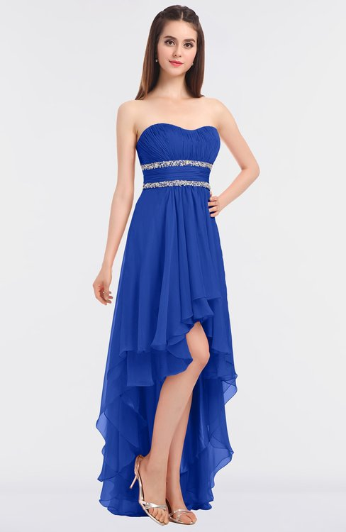 ColsBM Cynthia Dazzling Blue Elegant A-line Strapless Sleeveless Zip up Floor Length Bridesmaid Dresses