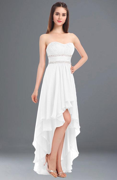 ColsBM Cynthia White Elegant A-line Strapless Sleeveless Zip up Floor Length Bridesmaid Dresses
