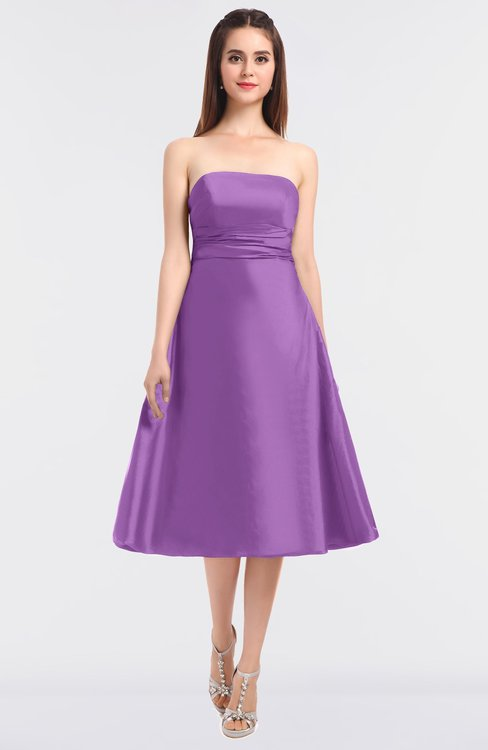ColsBM Stacy African Violet Elegant Ball Gown Bateau Sleeveless Zip up Ruching Bridesmaid Dresses