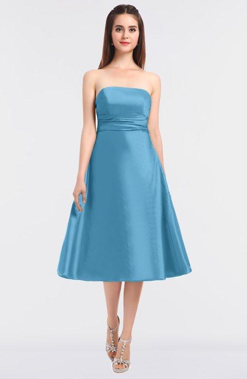 ColsBM Stacy Alaskan Blue Elegant Ball Gown Bateau Sleeveless Zip up Ruching Bridesmaid Dresses