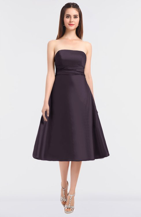 ColsBM Stacy Black Plum Elegant Ball Gown Bateau Sleeveless Zip up Ruching Bridesmaid Dresses