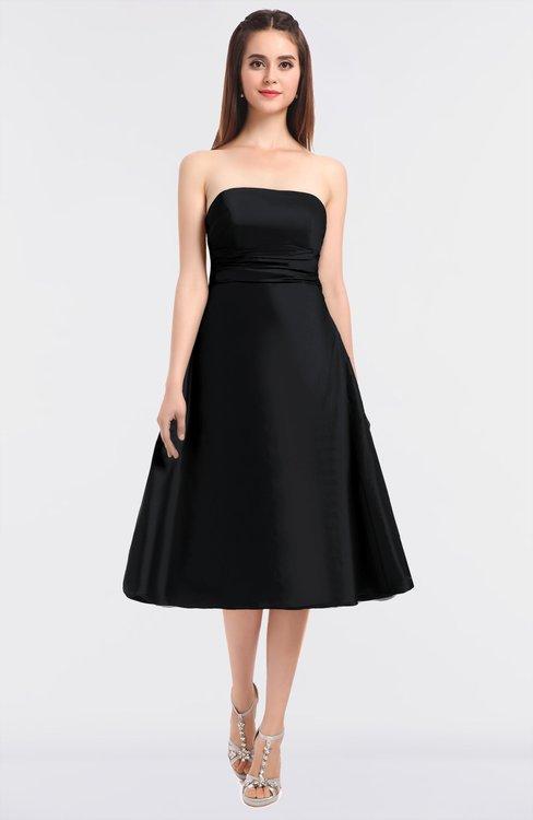 ColsBM Stacy Black Elegant Ball Gown Bateau Sleeveless Zip up Ruching Bridesmaid Dresses