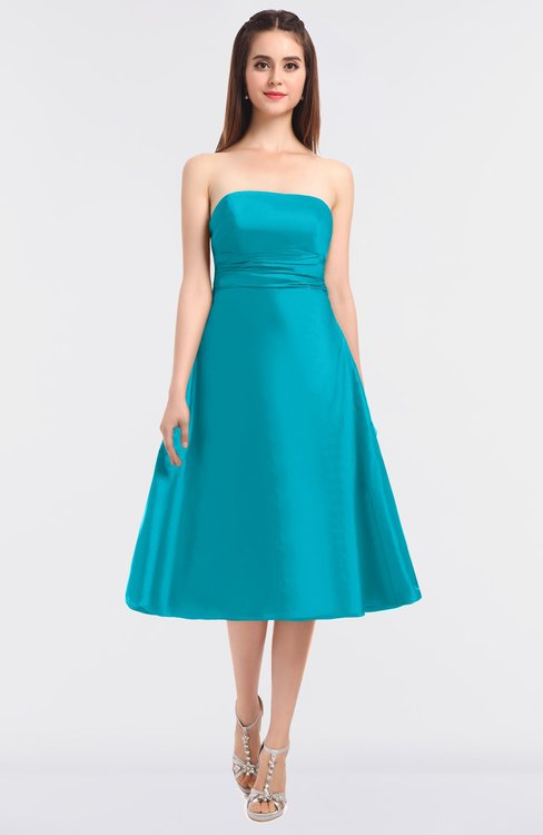ColsBM Stacy Blue Atoll Elegant Ball Gown Bateau Sleeveless Zip up Ruching Bridesmaid Dresses
