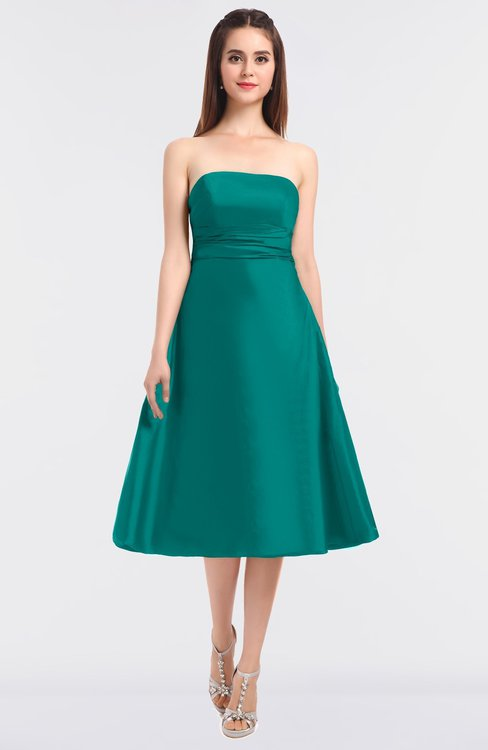 ColsBM Stacy Blue Grass Elegant Ball Gown Bateau Sleeveless Zip up Ruching Bridesmaid Dresses