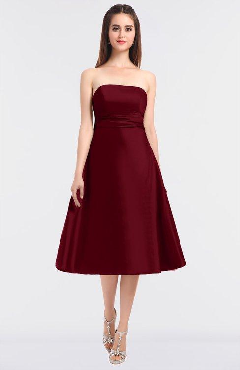 ColsBM Stacy Burgundy Elegant Ball Gown Bateau Sleeveless Zip up Ruching Bridesmaid Dresses