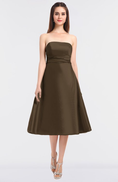 ColsBM Stacy Cocoa Brown Elegant Ball Gown Bateau Sleeveless Zip up Ruching Bridesmaid Dresses