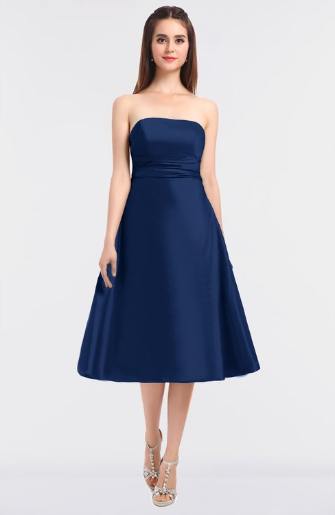 ColsBM Stacy Dark Blue Elegant Ball Gown Bateau Sleeveless Zip up Ruching Bridesmaid Dresses