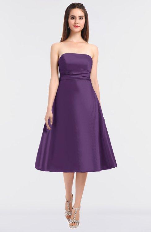 ColsBM Stacy Eggplant Elegant Ball Gown Bateau Sleeveless Zip up Ruching Bridesmaid Dresses